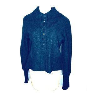 Bernardo 100% wool jacket XL dk gray faux buttons
